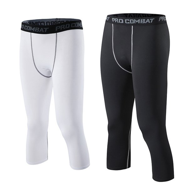 Sport Collants Basket-ball entraînement fitness hommes course leggings séchage rapide 3/4 pantalons serrés élastiques