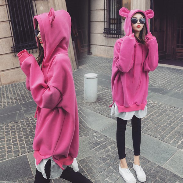 Women Long Sleeve Sweatshirts Cute Bear Ears Sweatshirts Fleece Hoodies Autumn Casual Loose Pullover Fake 2PCS Tops Asian Size M-2XL