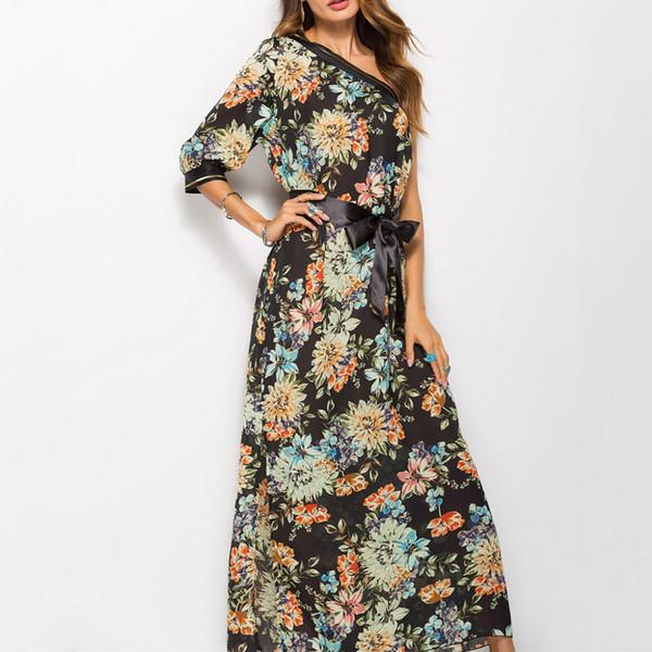 Sexy Damenmode lässig eine Schulter Böhmen Blumendruck rückenfreies langes Kleid