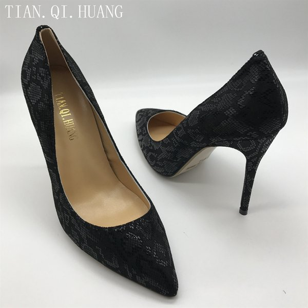 Nueva llegada Zapatos para mujer Bombas Tacones altos Zapatos de boda Mujer Tacones altos Cuero genuino Tamaño: 35-42 TIAN.QI.HUANG Marca # 37515
