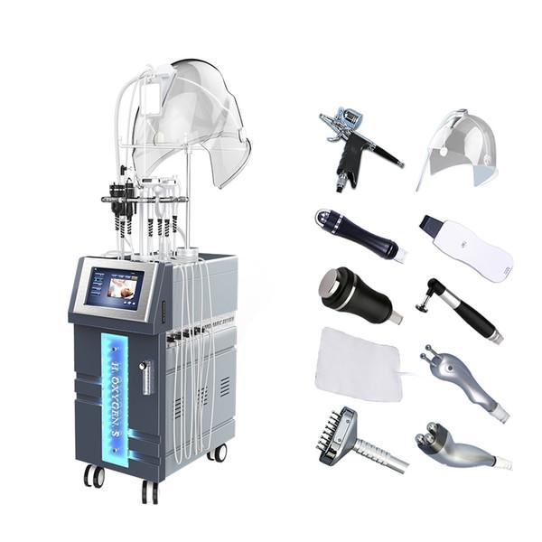 Multifuncional hiperbárica terapia de oxígeno masaje facial máquina de ozono terapia Oxígeno Jet Peel Máquina Facial Oxígeno Microdermasión agua Je