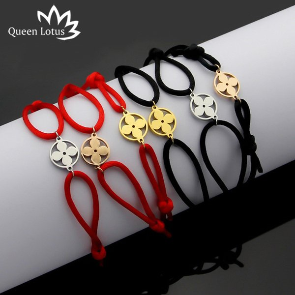Queen Lotus 2019 High Quality Fashion Women Bangle Handmade Rope Chain Bracelet Charm Titanium Stainless Steel With Letter