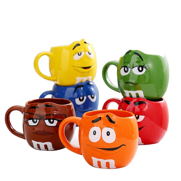 MM Coffee Mugs Ceramic Tea Cups and Mugs Large Capacity Mark Cute Bean Expression Cartoon Creative Drinkware Free Spoon