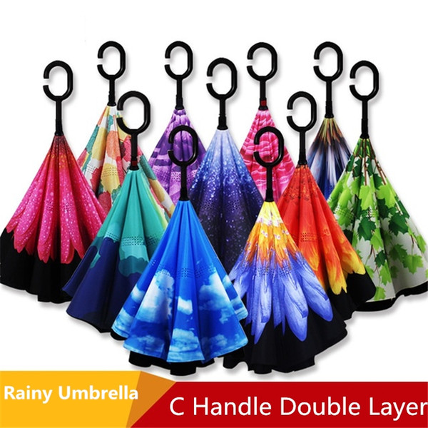 Mujer creativa Paraguas Invertidos Moda Capa Doble Con C Mango Revestimiento Invertido Viento Flor del Cielo Colorido Paraguas Invertido5063