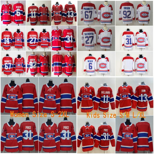 Toptan Erkek Çocuk Kadın Dikişli adréds Montréal Canadiens # 6 WEBER # 11 GALLAGHER 31 FIYAT 65 ŞAL 92 DROUIN Beyaz Kırmızı Buz Hokeyi Formaları