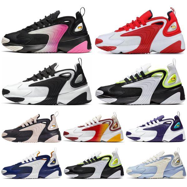 2020 Mujeres M2k Tekno Zoom 2K Hombres Corrientes Zapatos Blanco Negro Volt Púrpura Azul Real Triple, Mujeres Negro Deportes Zapatillas De Deporte