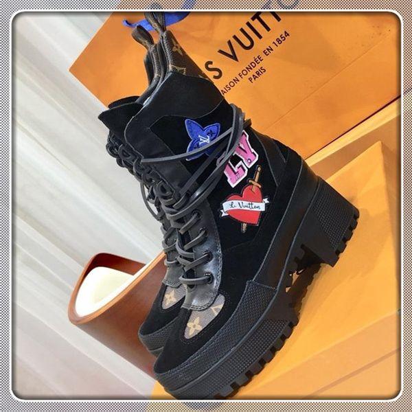 Yüksek Kaliteli Kadınlar Lüks tasarımcı çizmeler Deri tıknaz Martin ayakkabı Platformu Çöl Moda Dantel-up kutusu Kadın Boot