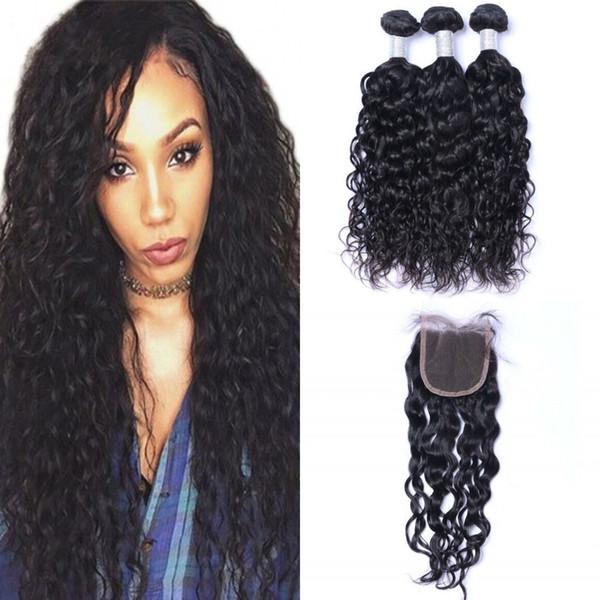 La onda de agua del pelo 3 Paquetes con cierre parte libre malasio de la Virgen del cabello humano barato Paquetes con cierre de encaje