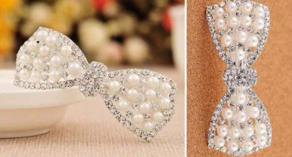 New hair accessories bows pearl rhinestone spring clip hairpin women head jewelry wholesale mixed batch wild jewelry