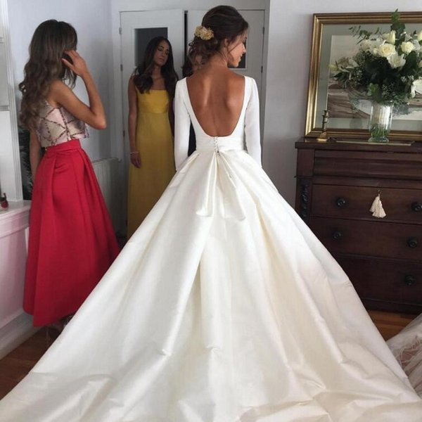 Cheap Vintage Wedding Dresses Capped Long Sleeves 2019 Elegant Bridal Gowns Backless Sweep Train Satin A Line Wedding Dresses Free Shipping