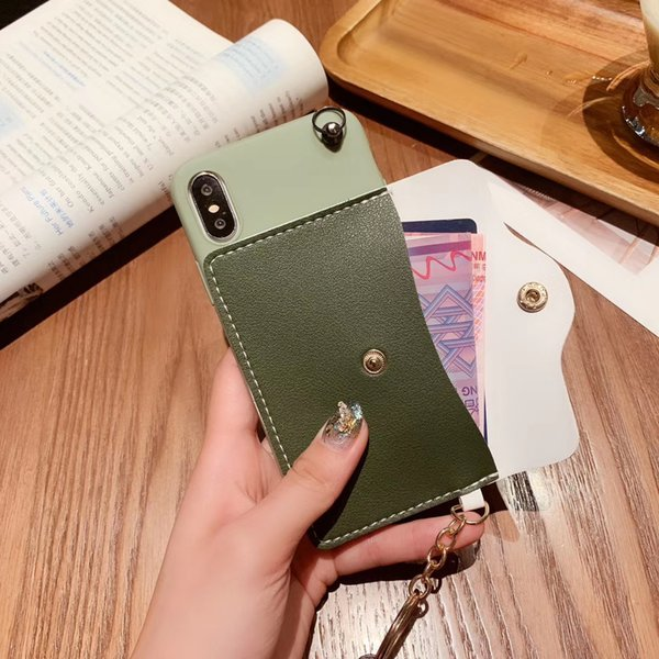 YunRT Coin Wallet Phone Case for IPhone X XS Max XR Soft Silicone Cover for iPhone 6 6s 7 8 Plus Fashion Lady Strap Phone Case