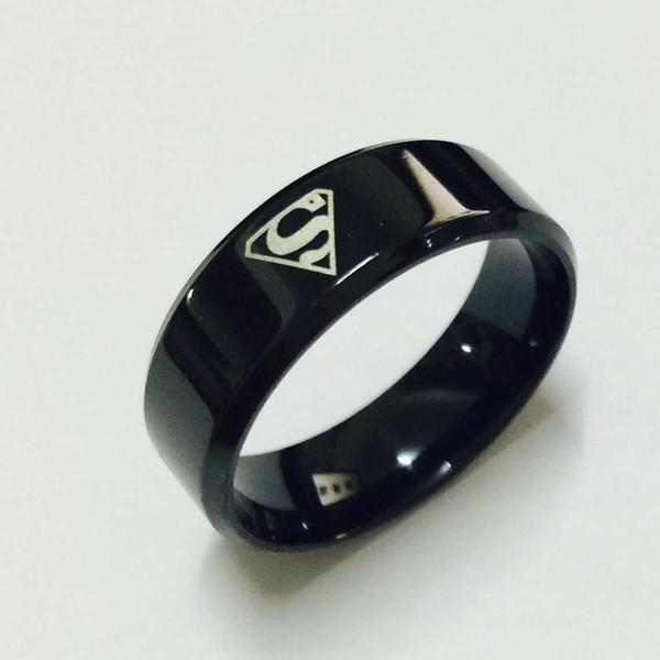 Cool boys girls 8mm Carbon steel black superman hero S rings for men women high quality USA size 6-14
