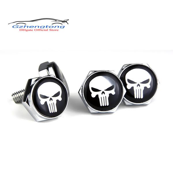 Gzhengtong 4 Pçs / set placa de Licença de Alumínio Porcas de liga de Alumínio e parafusos Para BMW Mini Caps Emblema Decalque para Punisher Logo