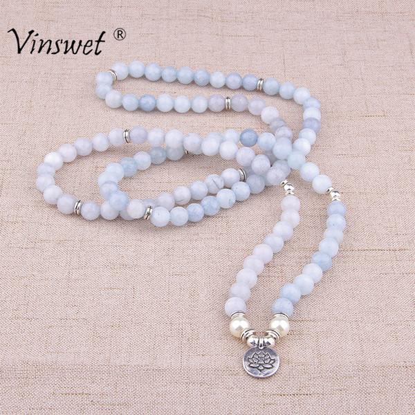 Fashion Women`s Bracelet Natural Aquamarin Beads Bracelet with Lotus Charm Yoga 108 Mala Necklace for Men Women