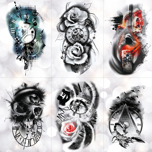 attoo & Body Art Temporary Tattoos Family Rose Time clock Skull Temporary Tattoo Sticker Scorpion Tower Waterproof Tattoos Body Art A...