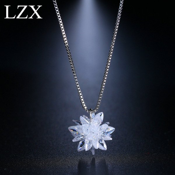 fashion choker New Trendy White Gold Color 100% Austria Crystal Flower Design Choker Necklace Pendants For Women Fashion Party Jewelry