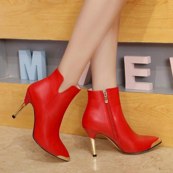 Inverno nuova pelle scarpe col moda stivaletti internazionali rosso nozze abito nero progettista scarpe modello delle donne 35-39 dimensioni