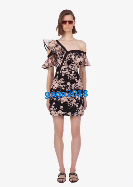 women girls shirt dress embroidery sequins floral motif mesh one shoulder short sleeves a-line mini skirts high-end fashion luxury dresses