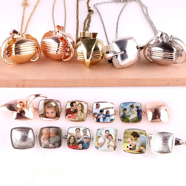 Quadrilateral Smooth Lucky Angel Wings Photo Album Box Cage Locket Pendant Necklace Memory Charm for unisex