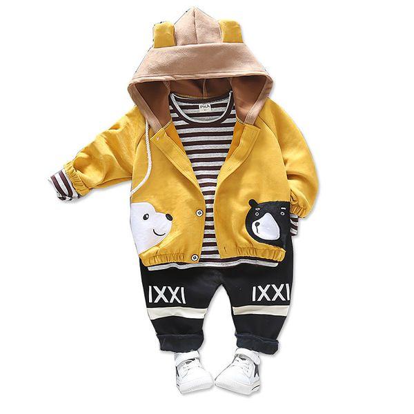 Children Girls Boys Fashion Clothing Spring Autumn Suit Hooded Bear Coat T shirt pants 3Pcs/Sets Clothes Baby Cotton