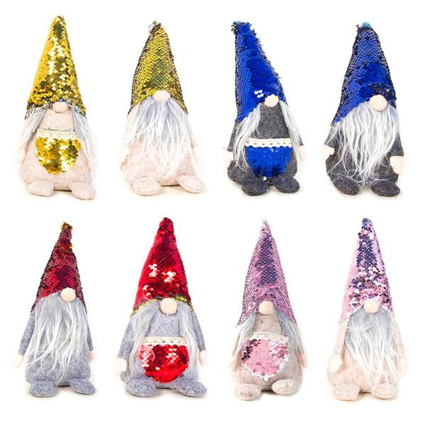 2019 2pcs / set de lentejuelas de Navidad sueca gnomo de Santa muñeca de la felpa del ornamento hecho a mano Elf juguete Casa Party Decor