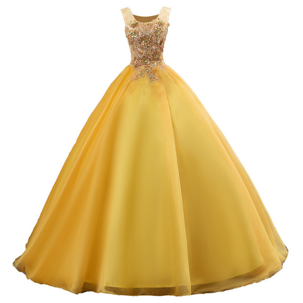 2019 Fashion Yellow Appliques Ball Gown Quinceanera Dresses Lace Up Plus Size Sweet 16 Dresses Debutante 15 Year Formal Party Dress BQ150