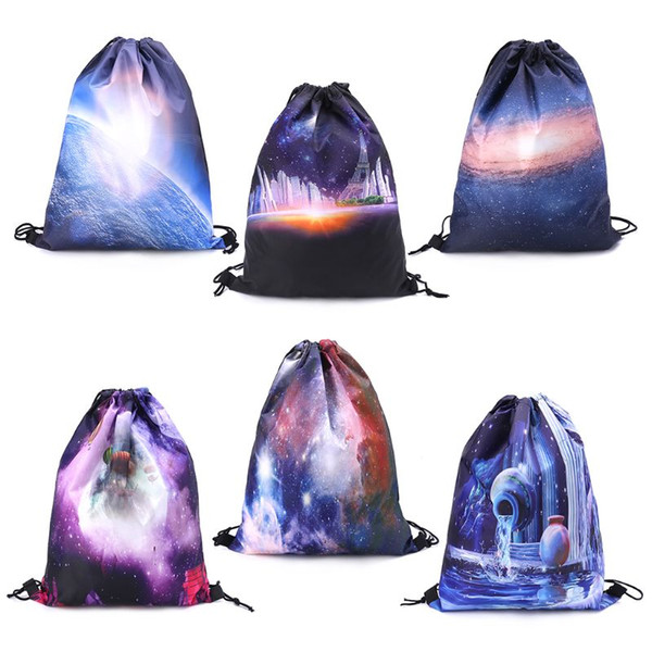 Starry Sky Drawstring Backpack Sport Rucksack School Travel Hiking Shoulder Bags