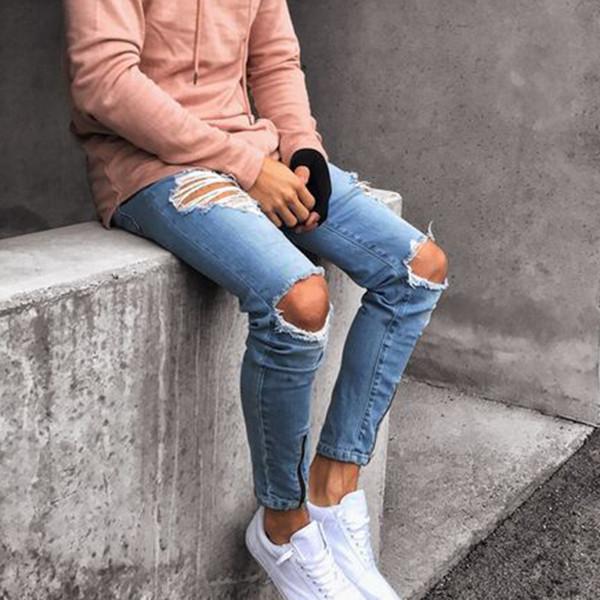 Jeans ajustados a la moda masculina, rompe agujeros, rebelde criminal, personalidad loca, jeans modernos, delgados, versátiles,