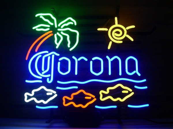 New Star Neon Sign Factory 17X14 Inches Real Glass Neon Sign Light for Beer Bar Pub Garage Room Corona Extra Fish.