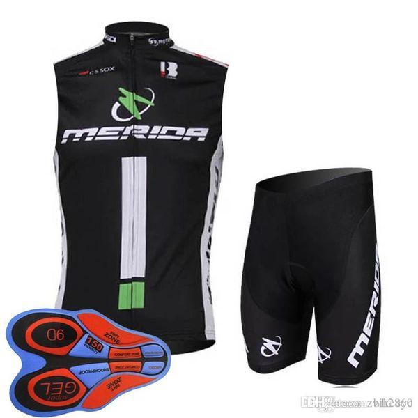 MERIDA Morvelo team Cycling Sleeveless jersey Vest (bib)shorts sets summer style for man camisa de ciclismo racing wear T1036