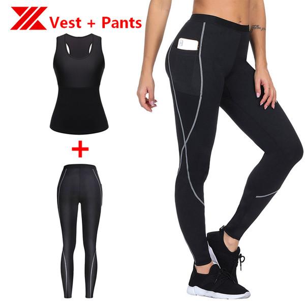 HEXIN Mujeres Chaleco Pantalones 2 Unids Un Conjunto Sauna Raceback Malla Adelgazante Neopreno body Shaper Tank Shaper Tummy Compresión Cintura entrenador