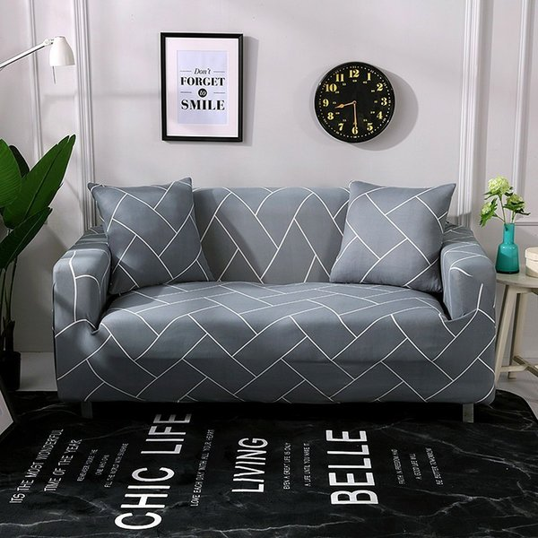 Elastic Anti-skid Sofa Cover Polyester Printing 1/2/3/4 Seater Couch Slipcover Furniture Chair Protector Cover