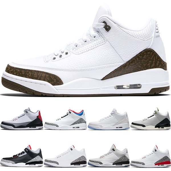 Nike Air Jordan 3 Mocha Erkekler Basketbol Ayakkabıları Klorofil Tinker JTH NRG Ücretsiz Atış Hattı Katrina Beyaz Siyah Çimento Spor Tasarımcısı Eğitmen Sneaker Boyutu