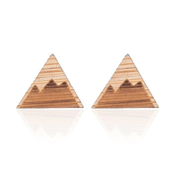 Mountain Peak Stud Earring Chandelier Cute Ear Cuff Women Girls Fashion Boho Piercing Minimalist Wedding Bridal Tribal wood Jewelry