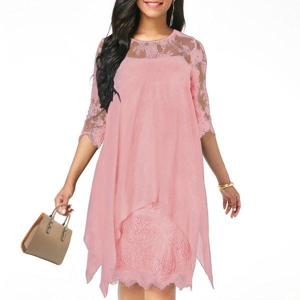 94c44c4f36ccb5 Xs-5xl Solid Color Three Quarter Sleeve Lace Dress Round Neck Women Elegant Overlay  Chiffon