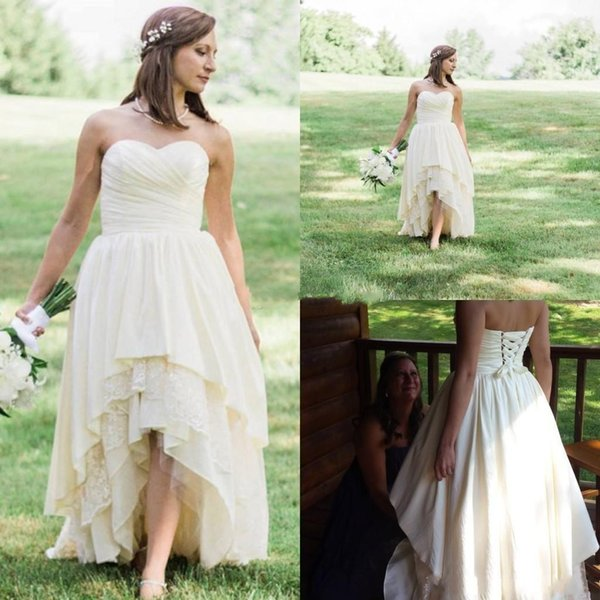 Cheap High Low Western Country Wedding Dresses 2019 Sweetheart ALine Tired Skirt Lace Hi-lo Bohemian Beach Bridal Gowns Plus Size