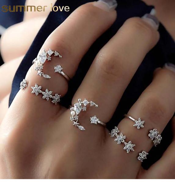 Мода 5 шт. / компл. Богемия открытые кольца набор ретро Кристалл Луна Звезда простой полый личность серебро открытый регулируемый кольцо для женщин свадьба Энн