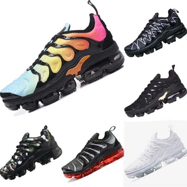 With Box 2019 Plus TN Knit Breathable Kids Running Shoes 2019 Plus TN All AirCushion Cushioning Kids Athletic Shoes