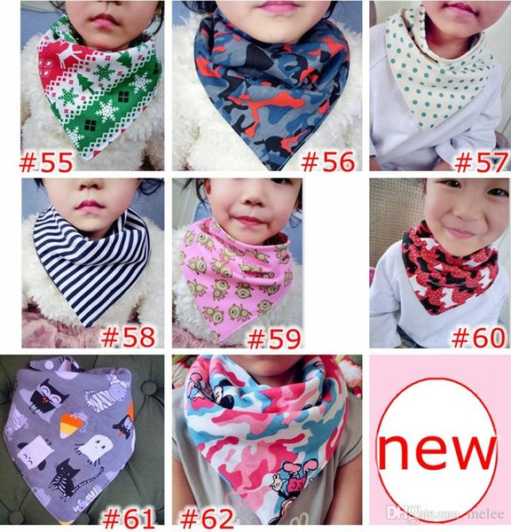 INS Xmas Holloween Baby Stripes Christmas Bibs Infant Triangle Scarf Toddlers Cotton Bandana Burp Cloths 100 colors choose free