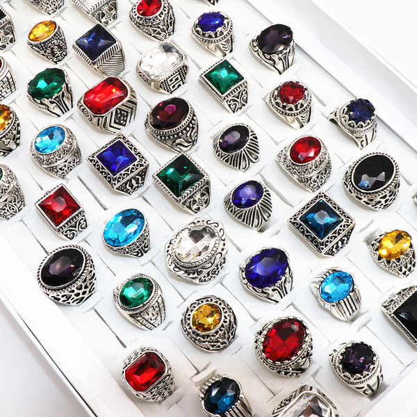 top popular Vintage Multicolor Glass Gemstone Carved Flowers Ring For Men Women Tibetan Silver Jewelry 2020