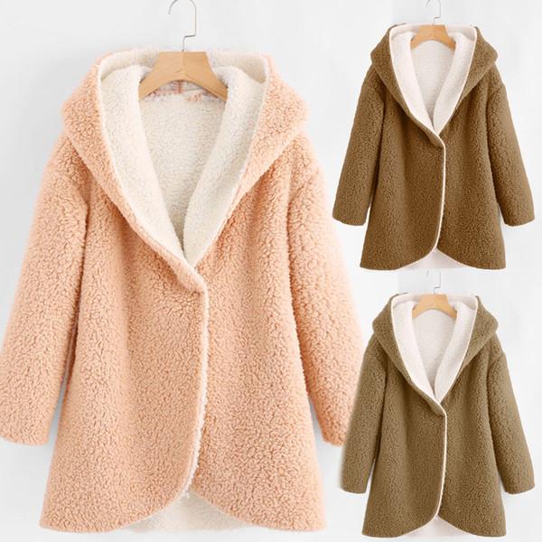 Invierno Mujer Otoño Invierno Curva Hem larga línea de la piel de imitación Sherpa Fleece linda caliente capa ocasional floja con capucha