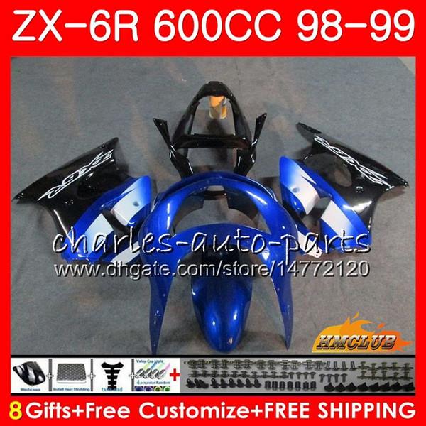 Karosserie Für KAWASAKI NINJA ZX-6R 6R ZX-636 ZX600 CC 98-99 Verkleidung 39HC.242 600CC ZX636 original blau ZX6R 98 99 ZX 636 ZX 6R 1998 1999 Verkleidung