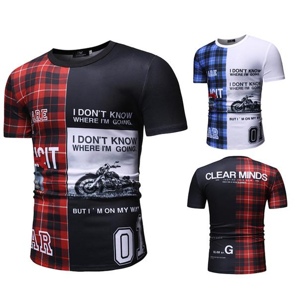 Yeni Avrupa ve Amerikan renk eşleştirme dikiş T-shirt erkek logosu baskı T-shirt eğlence kısa kollu sokak erkek basketwear hip-hop