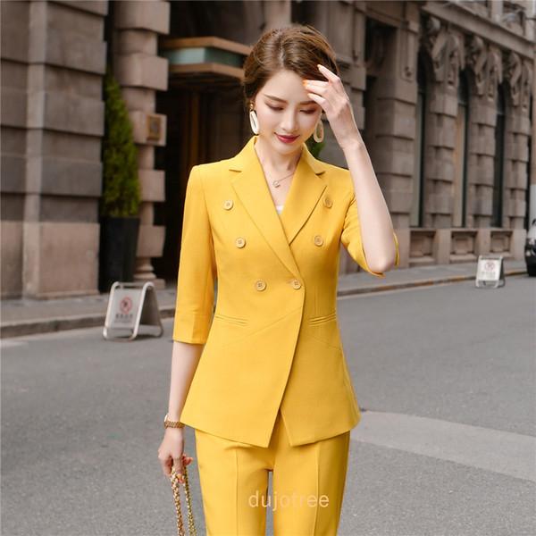 multe la modă design nou mai multe fotografii BS965 Women suits Slim summer Half sleeve blazers jacket pants 2 ...