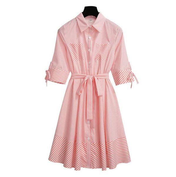 summer tshirt dress for women denim casual dresses loose spring autumn long sleeved buttons designer dress clothing T-shirt Short sleeve