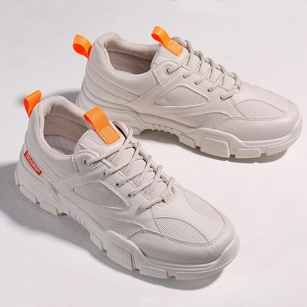 Run Shoe Male Shoe New Pattern Ventilation Running good Spring Summer Beige Network Noodles Light Sneakers Man Increase Shoe