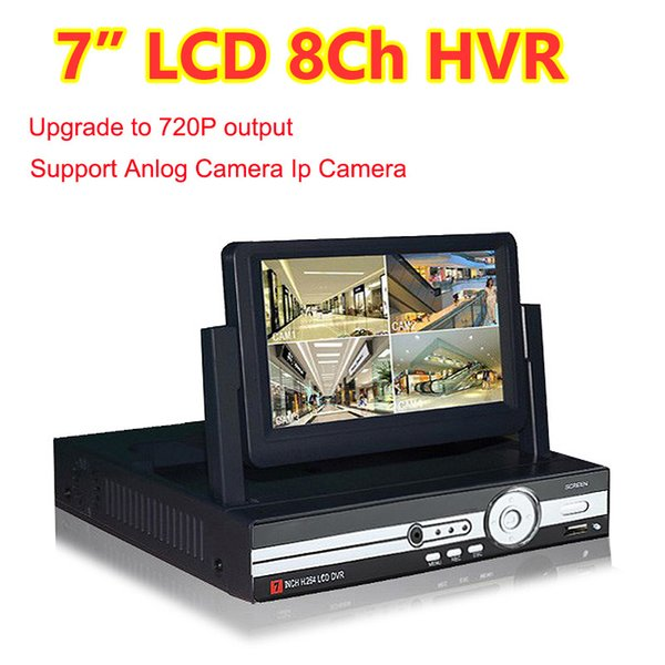 8 Channel 720P AHD 7inch Monitor Hybrid HVR NVR DVR Support Analog+IP Camera