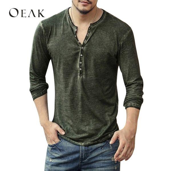 Oeak мужская повседневная футболка с длинным рукавом твердые o шеи футболка мужской хлопок весна осень верхняя кнопка camiseta masculina