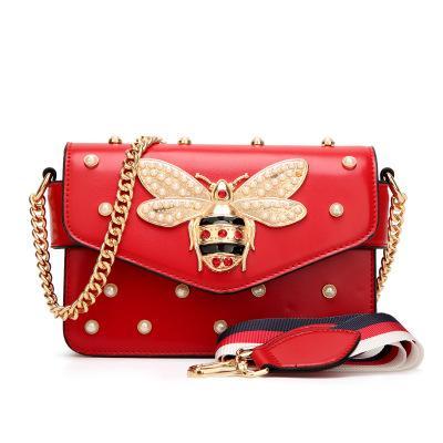 top popular Designer Shoulder Bag Pu Leather Fashion Chain Bag Cross Body Pure Color Female Women's Handbag Shoulder Bag Wholesale 2019