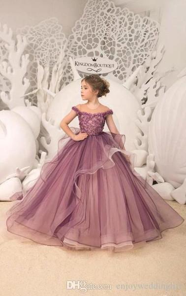 2019 nuevo vestido de bola de la princesa vestidos de las muchachas de flor con el vestido sin mangas Appliqued Tulle Puffy Girls Vestidos fiesta de cumpleaños desgaste bc2000